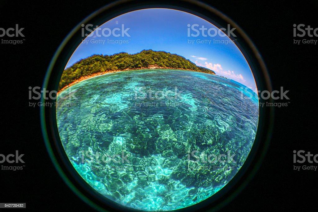Circular frame of Andaman sea at Tachai Island stock photo