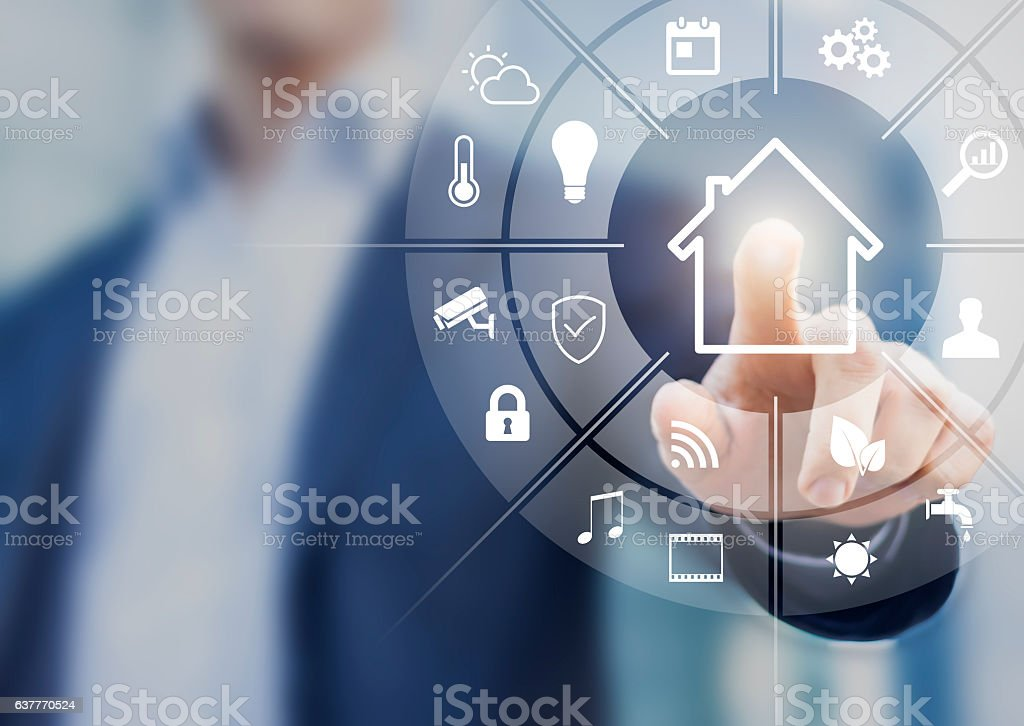 Circular futuristic interface of smart home automation assistant, virtual screen stock photo