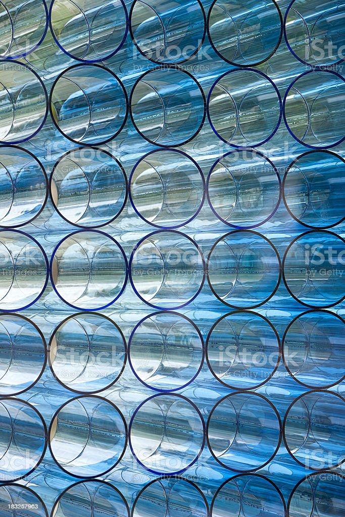 Circular glass tube background. stock photo