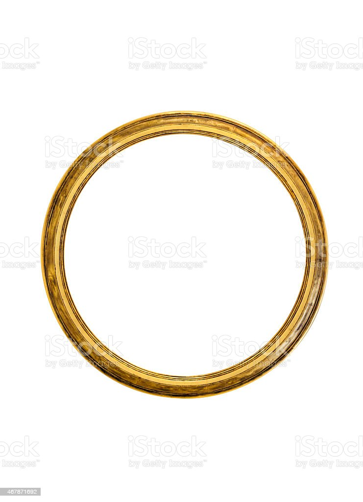 Circular golden picture frame isolated on white background stock photo