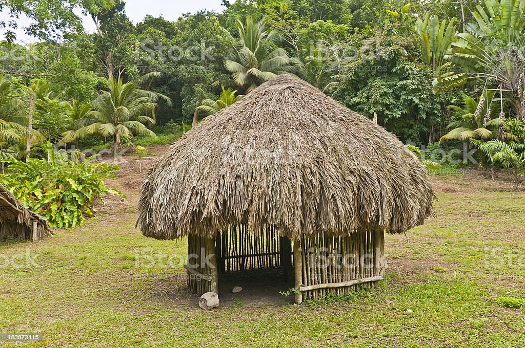 Circular Grass Hut in the Jungle royalty-free stock photo