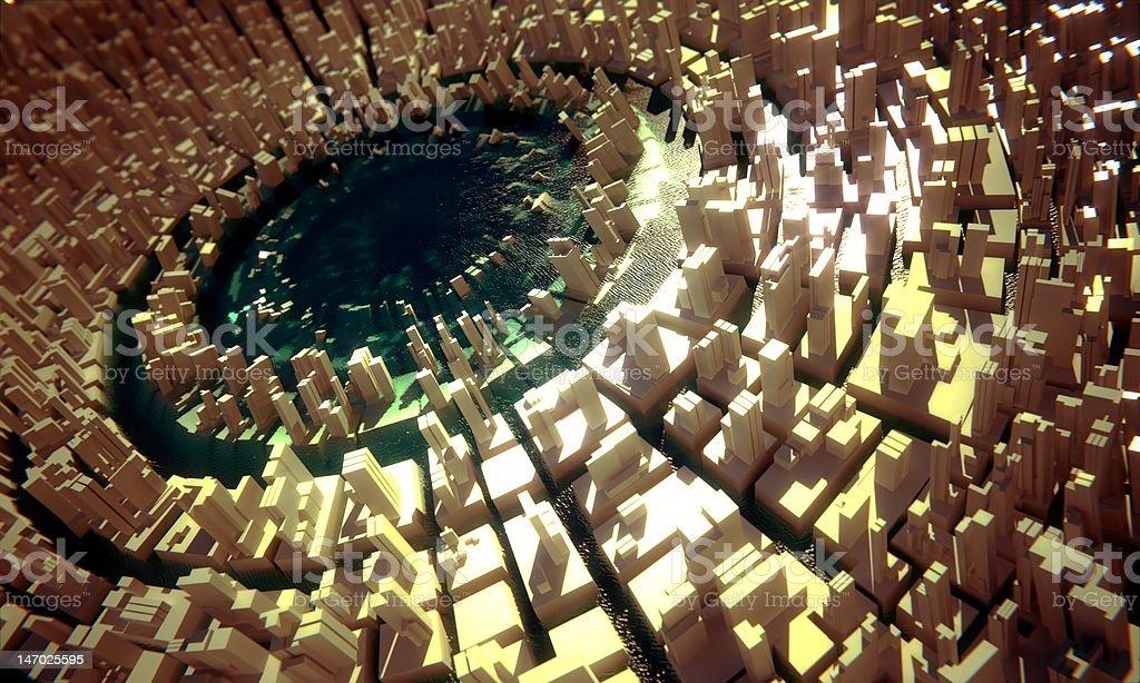 Circular greeble city with lake royalty-free stock photo