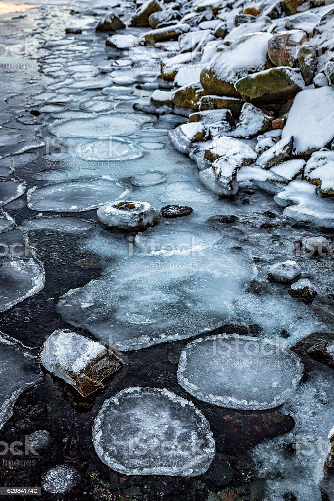 Circular ice flakes on seashore stock photo