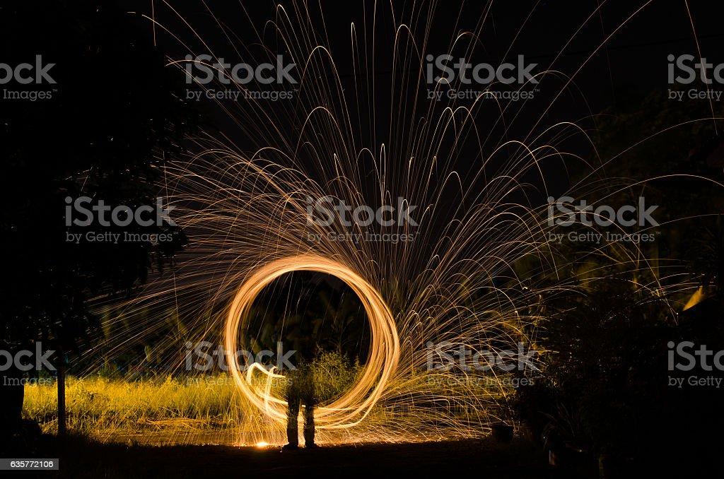 Circular Light trail stock photo