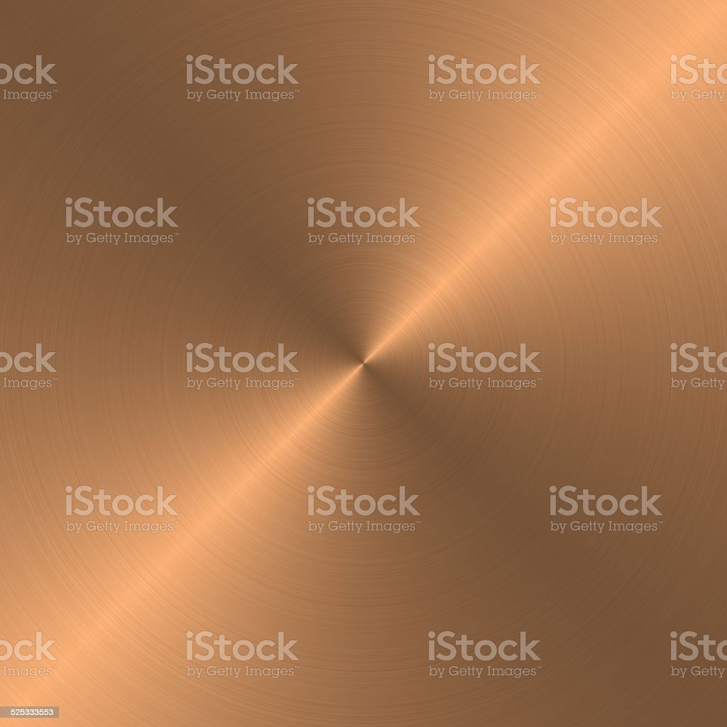 Circular metal brushed texture (copper) stock photo