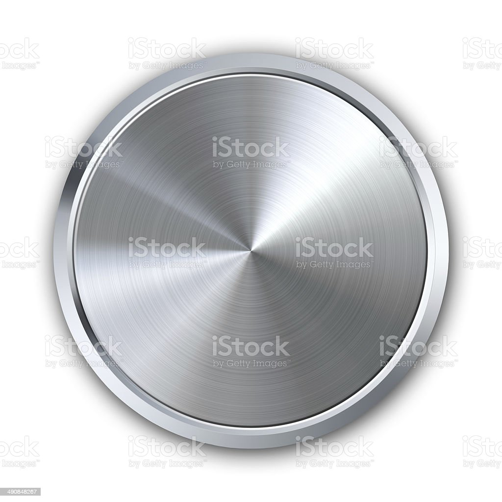 Circular metal button stock photo