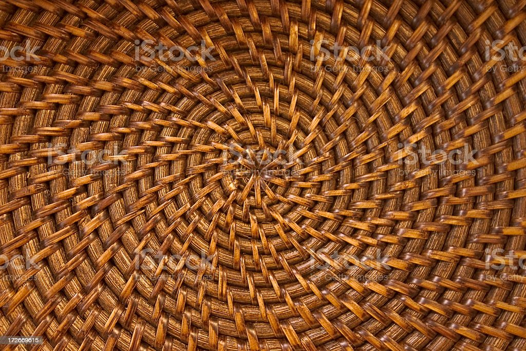 Circular or Spiral Wicker woven pattern royalty-free stock photo