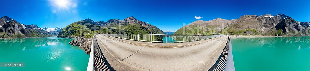 Circular panorama of Stausee Mooserboden Dam near Kaprun, Austria stock photo