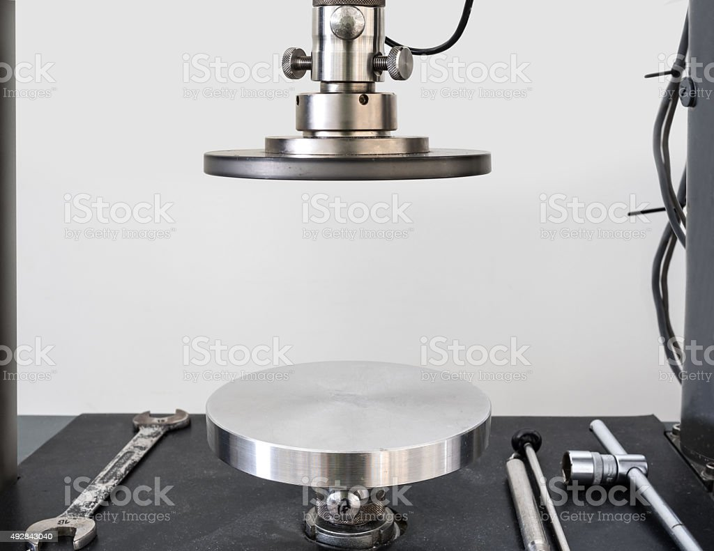 circular plate can press sample to calculate physical property o stock photo