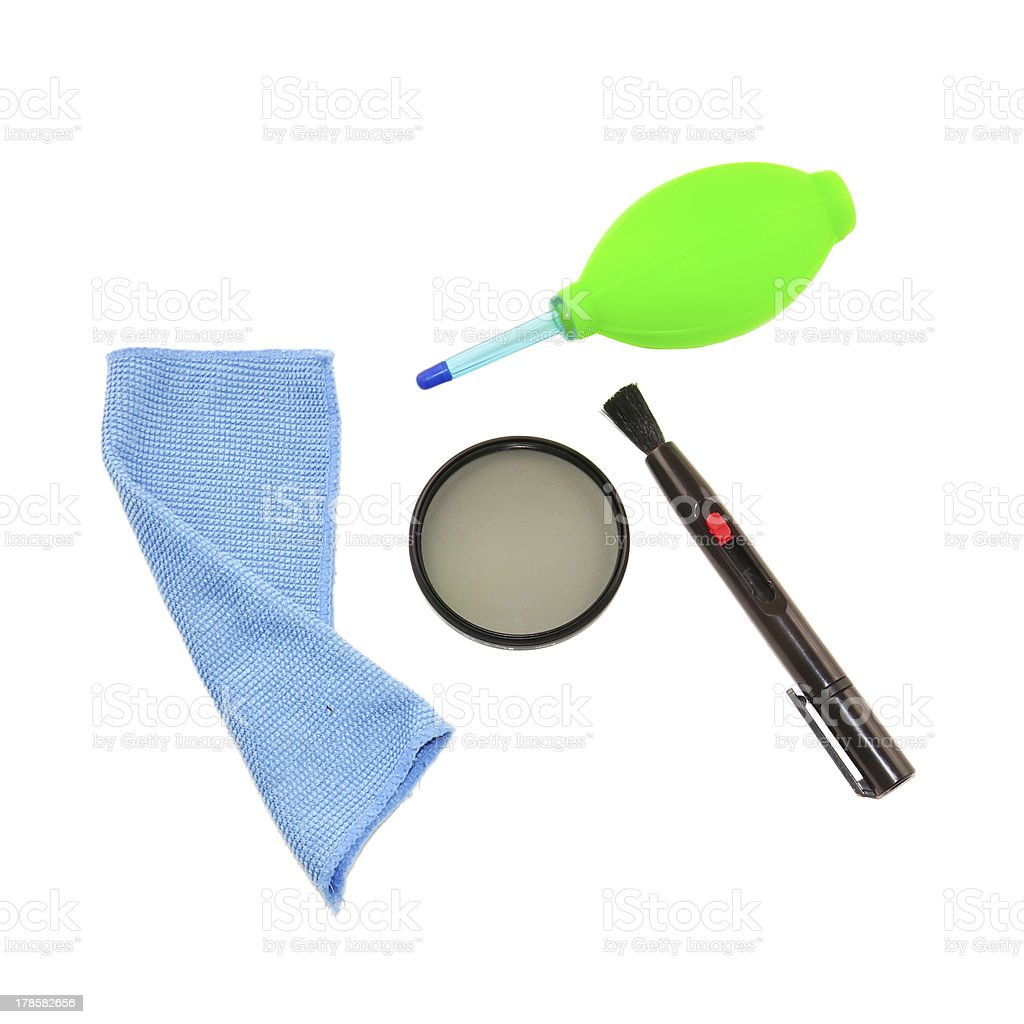 circular polarized filter and camera cleaning set stock photo