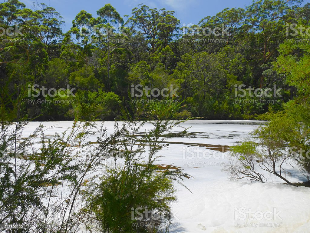 Circular Pool producing white foam stock photo