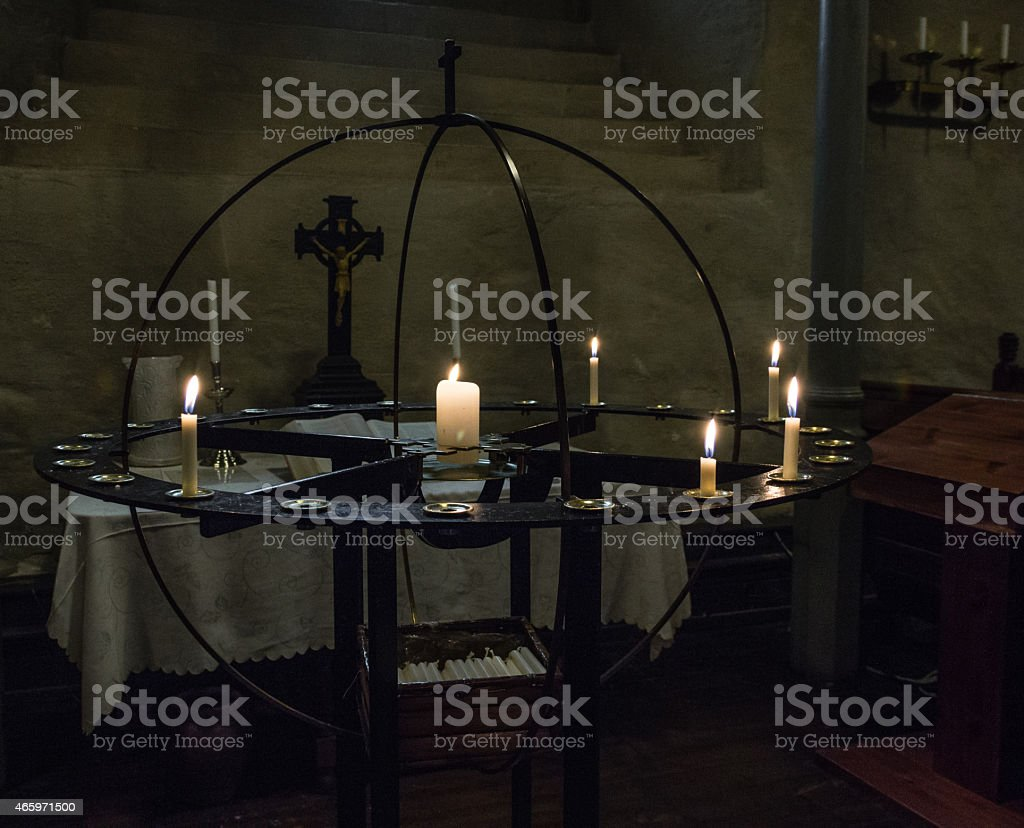 Circular prayer ring with candles in a Church stock photo