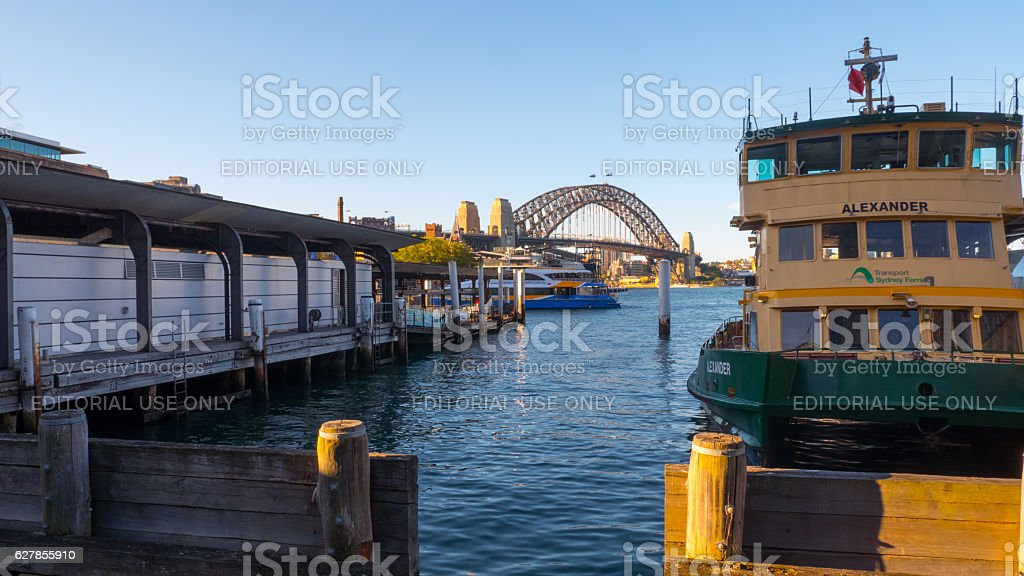 Circular Quay and Harbour Bridge , Sydney, Australia 4k stock photo