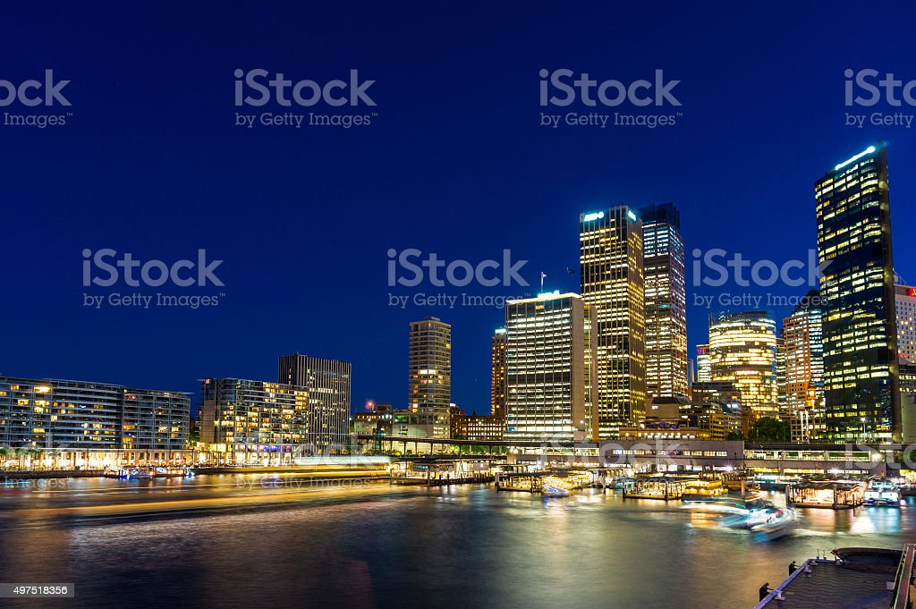 Circular Quay and  Sydney Business District Centre at night, Syd stock photo