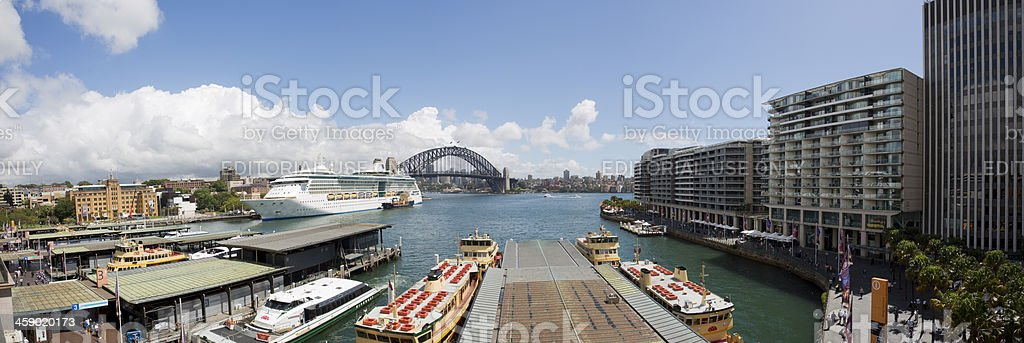 Circular Quay, and the Sydney Harbour Bridge royalty-free stock photo