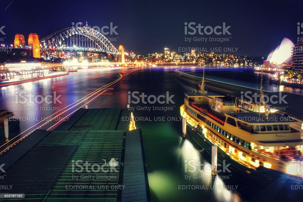 Circular Quay at Night stock photo
