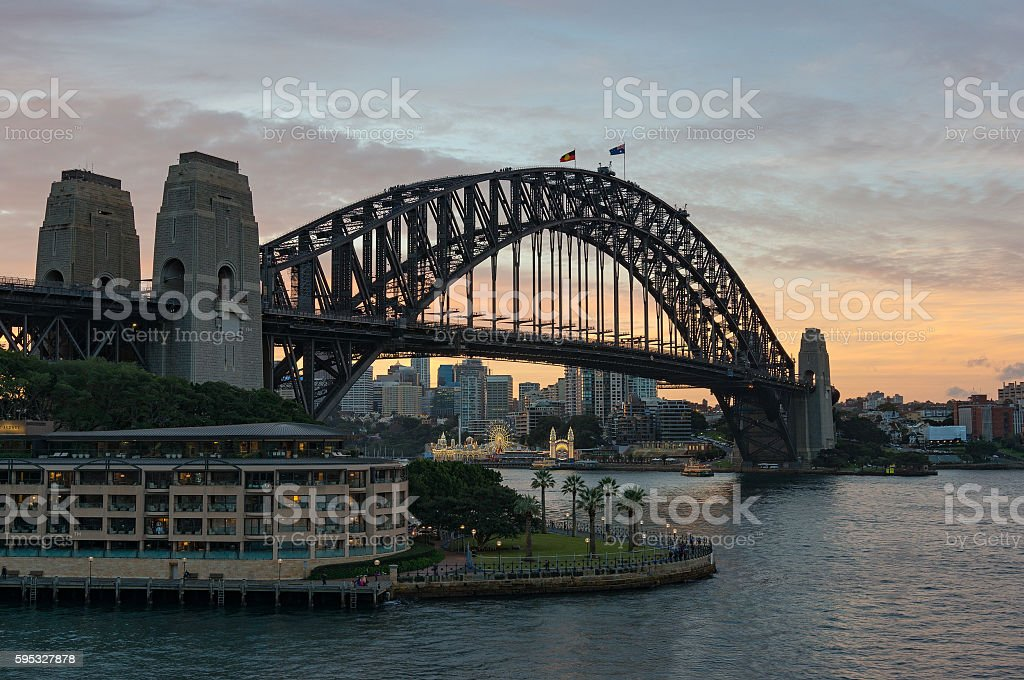 Circular Quay Bay and Sydney Harbour Bridge stock photo