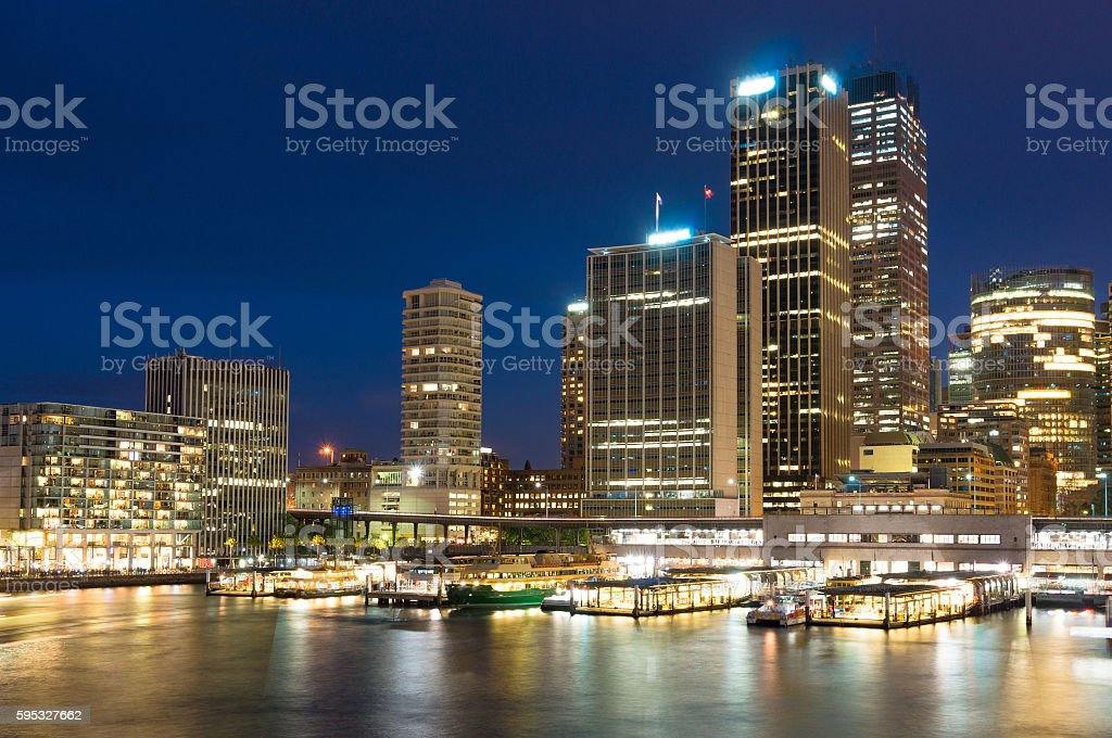 Circular Quay modern cityscape at night. Sydney, Australia stock photo