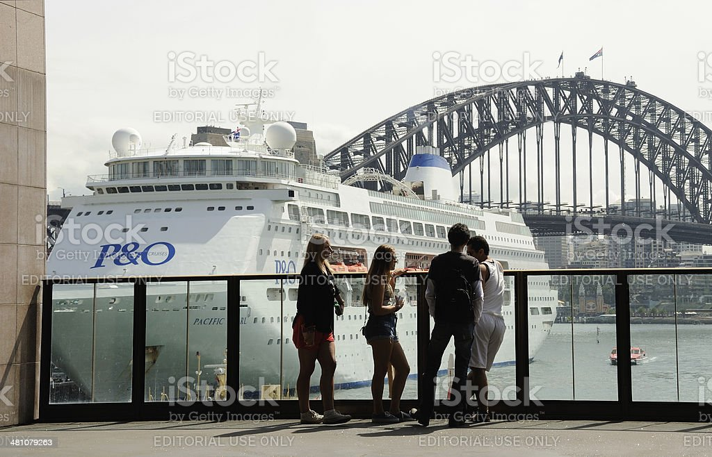 Circular Quay Station and Cruise Ship stock photo