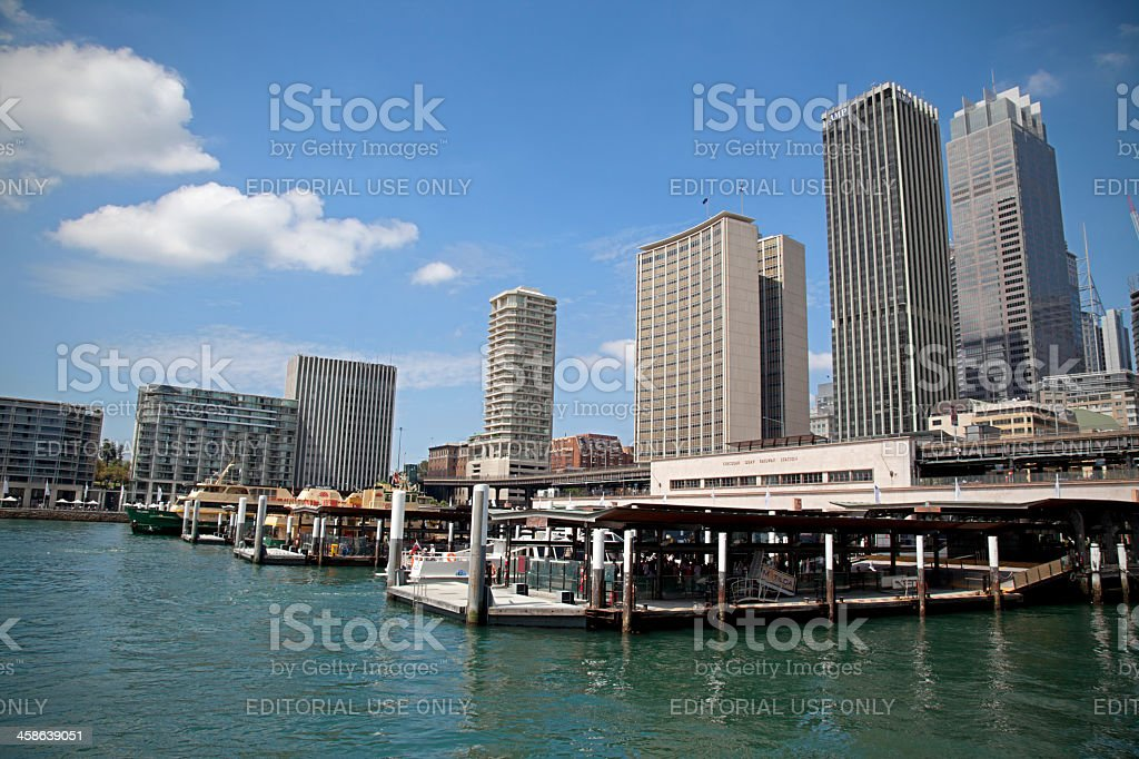Circular Quay, Sydney, with ferries, railway station and office buildings royalty-free stock photo