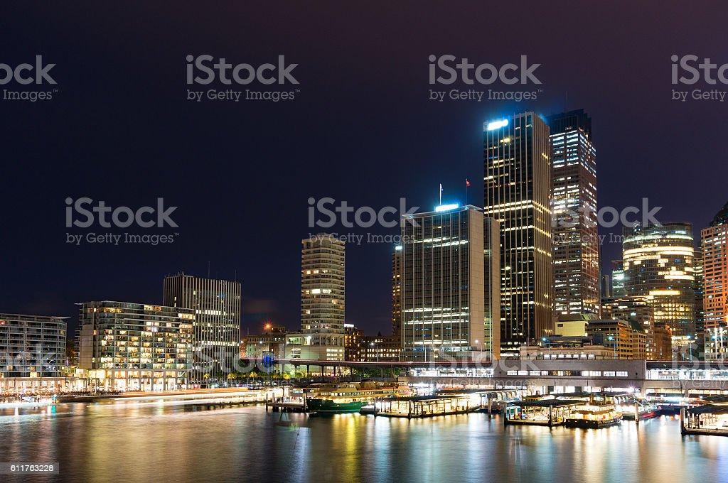 Circular Quay wharf with Sydney skyline stock photo