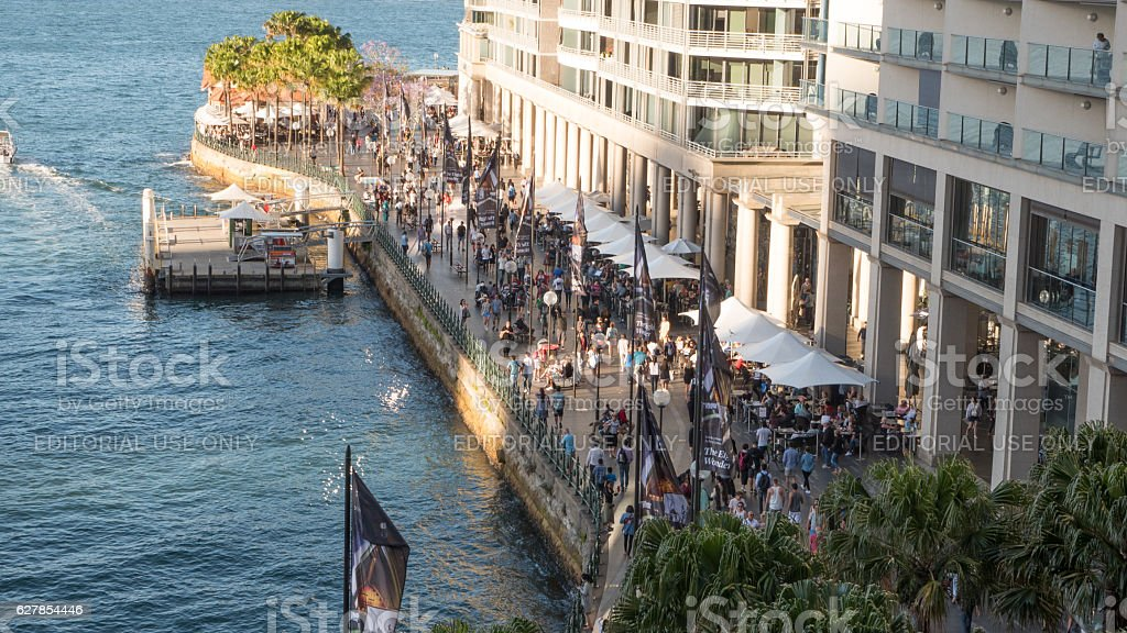 Circular Quay with Palm trees and people 4k stock photo