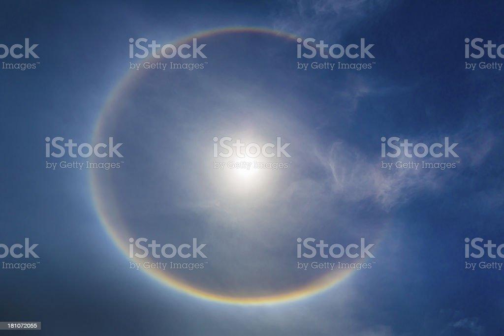 Circular Rainbow 22-Degree Halo Sundog Ring of Light stock photo
