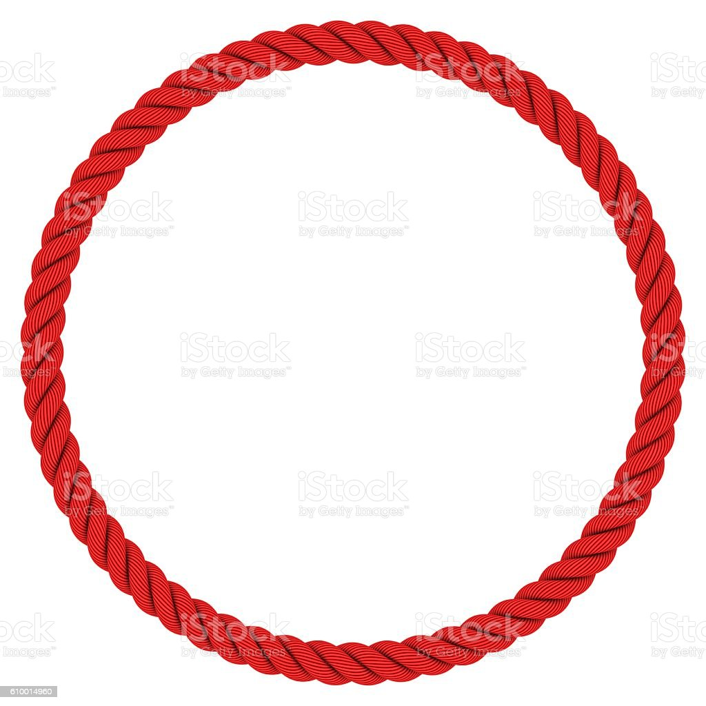 Circular Red Rope Frame Isolated on White stock photo