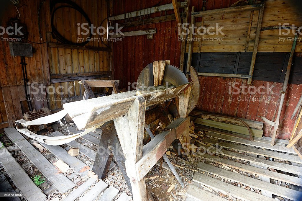 Circular Saw bench stock photo