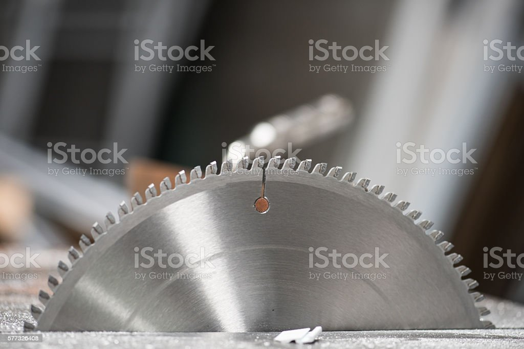 Circular saw blade for aluminum stock photo