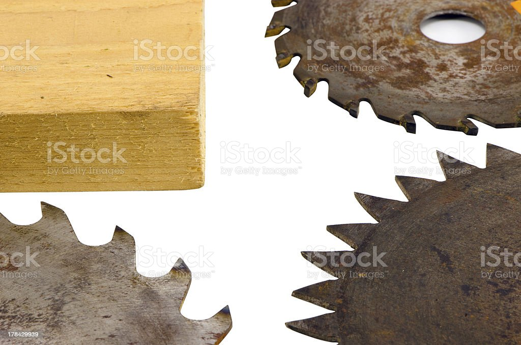 circular saw disks blades and boad part on white royalty-free stock photo