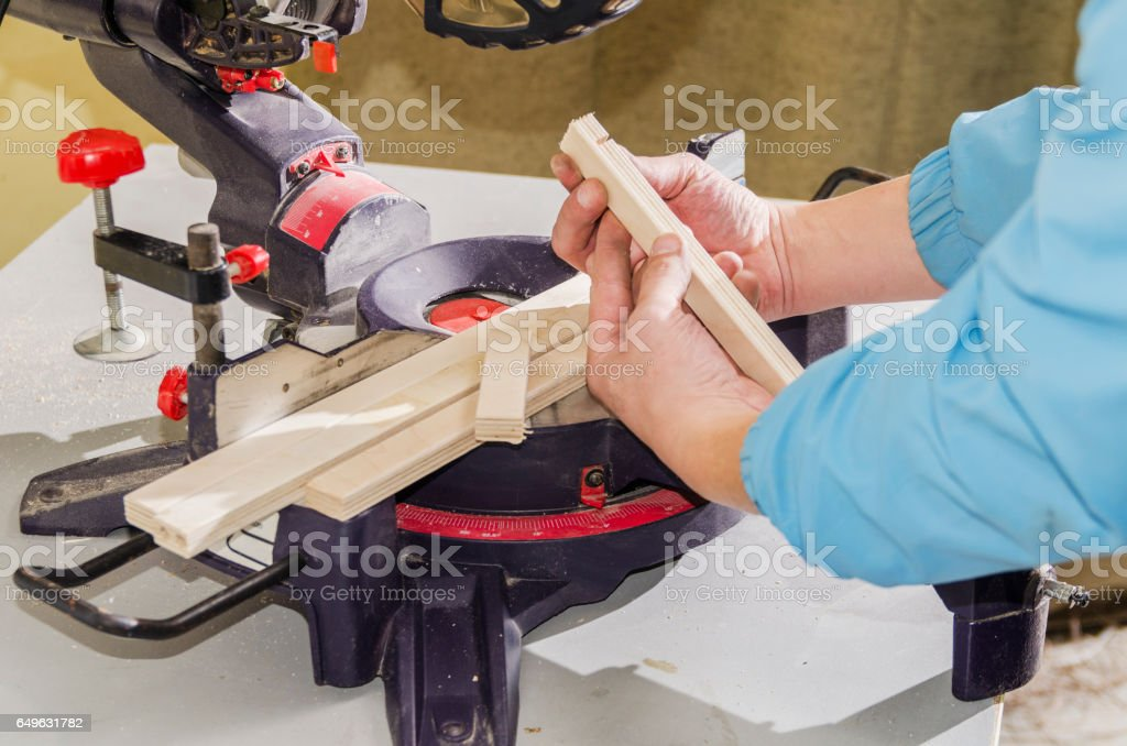 Circular saw for furniture manufacturing stock photo