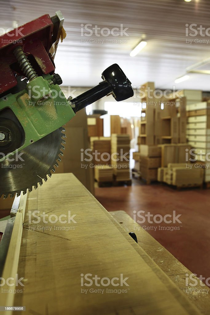 Circular saw in a workshop royalty-free stock photo