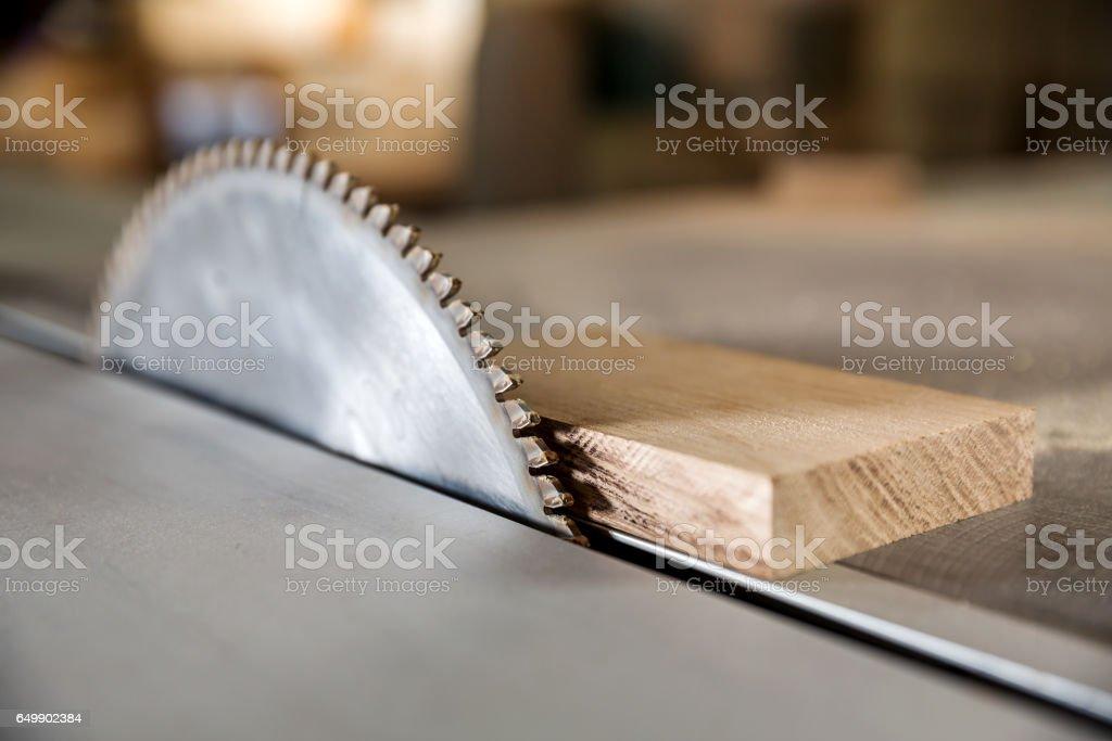 Circular saw in carpentry workshop stock photo