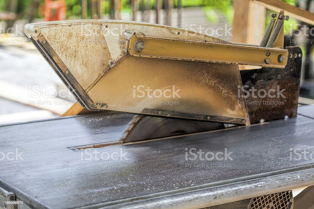 Circular saw on construction site royalty-free stock photo