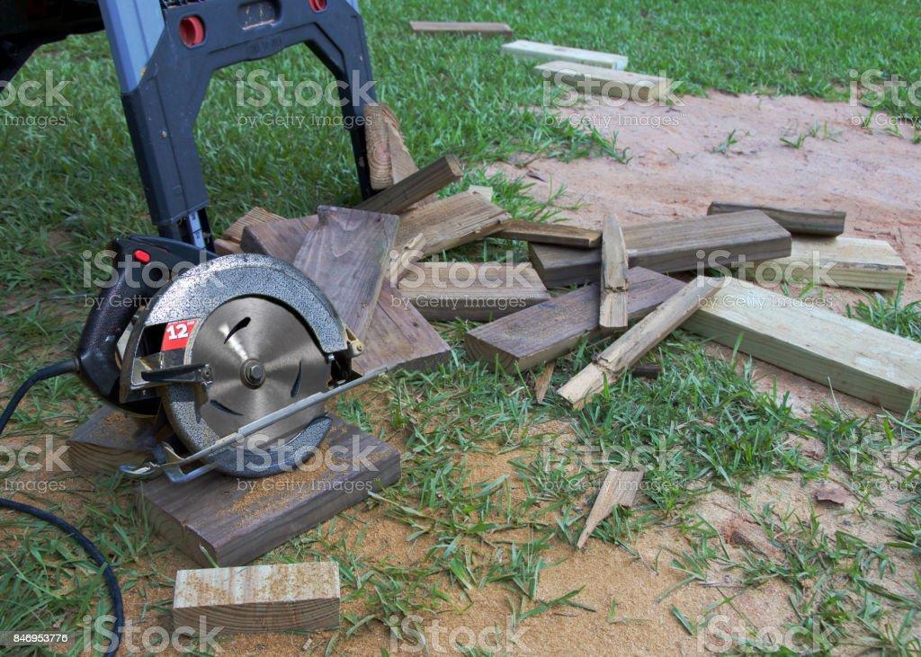 Circular Saw on the Work Site stock photo