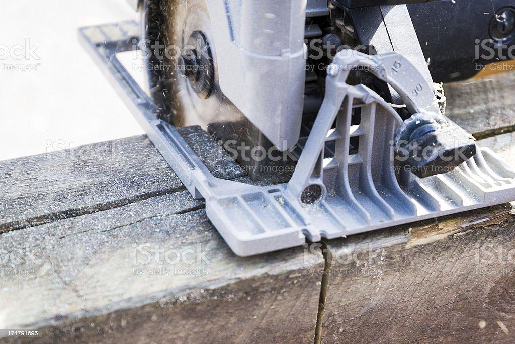 Circular Saw Tool Cutting Wood royalty-free stock photo