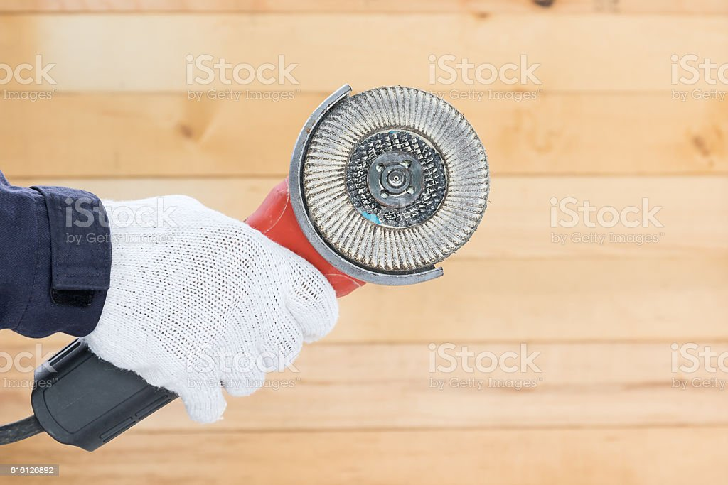 Circular saw with an abrasive disk stock photo