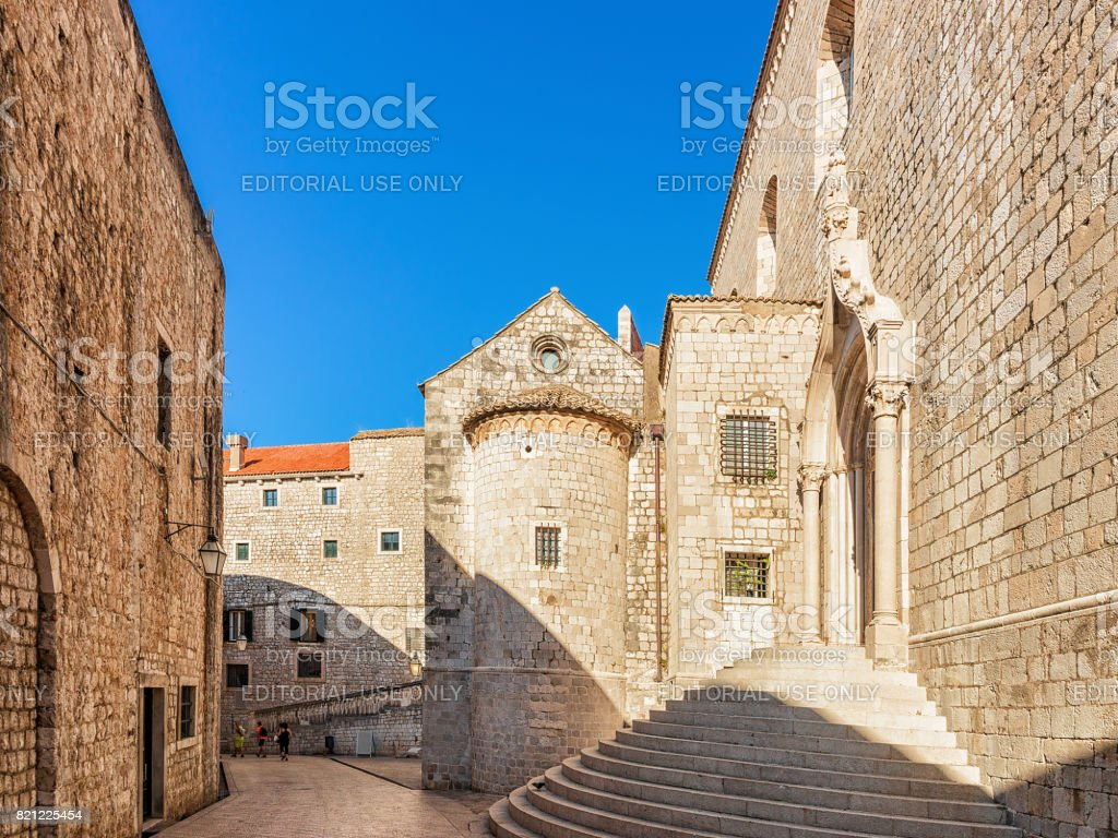 Circular steps of Dominican Monastery in Old town of Dubrovnik stock photo