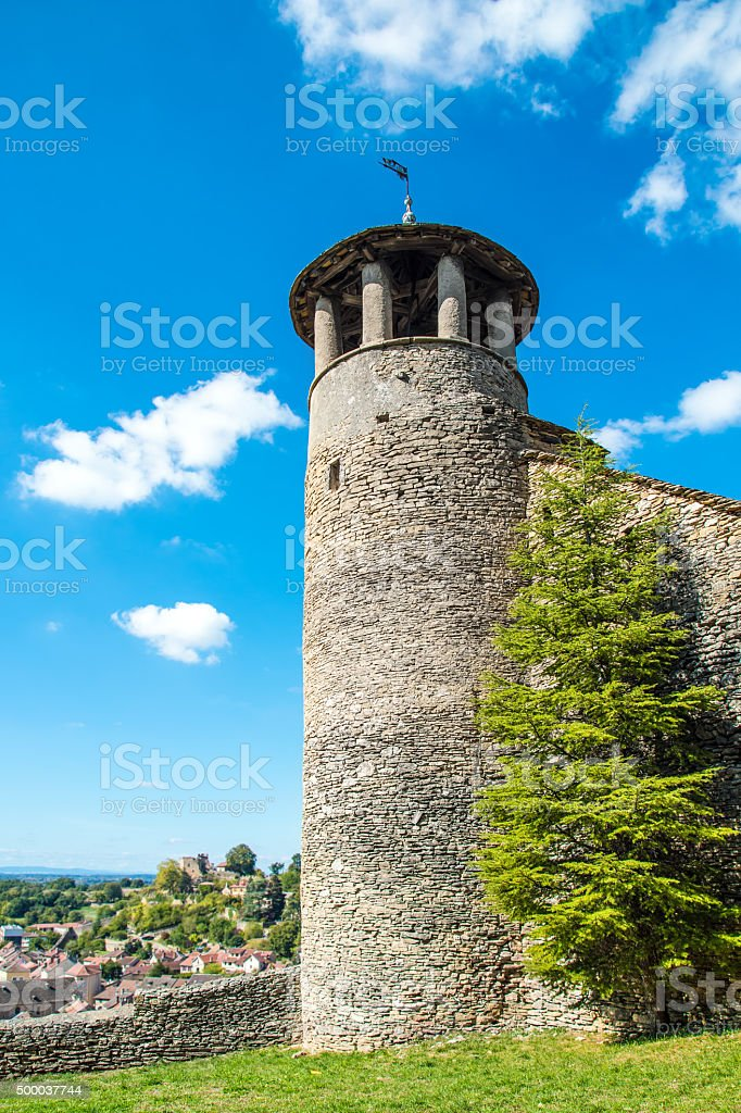 Circular stone 16th century tower in medieval town of Cremieu stock photo