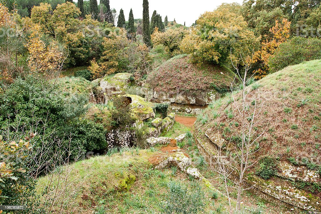 Circular tombs in the Etruscan Necropolis of Cerveteri stock photo