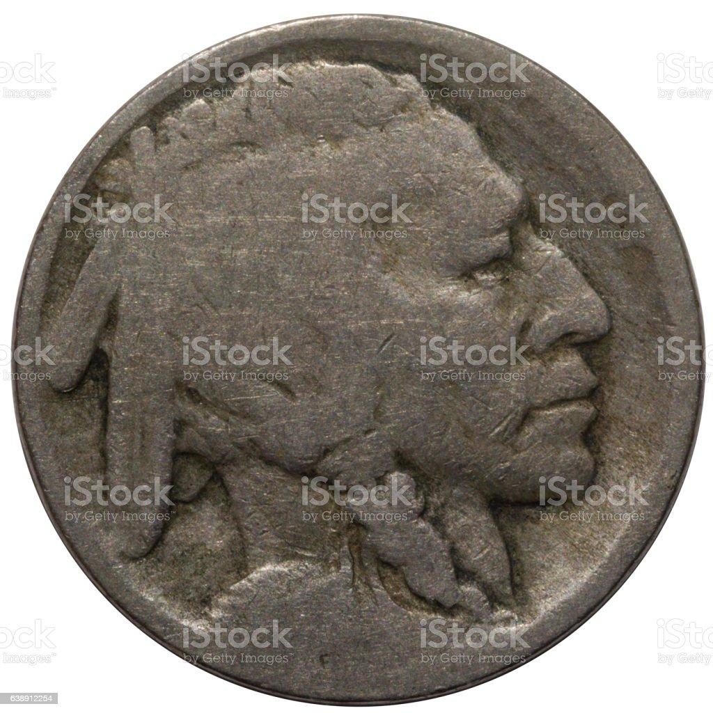 Circulated Buffalo Nickel Obverse stock photo