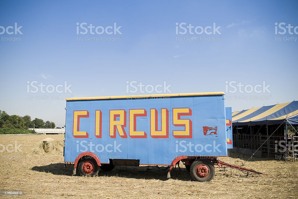 Circus car in field, copy space stock photo