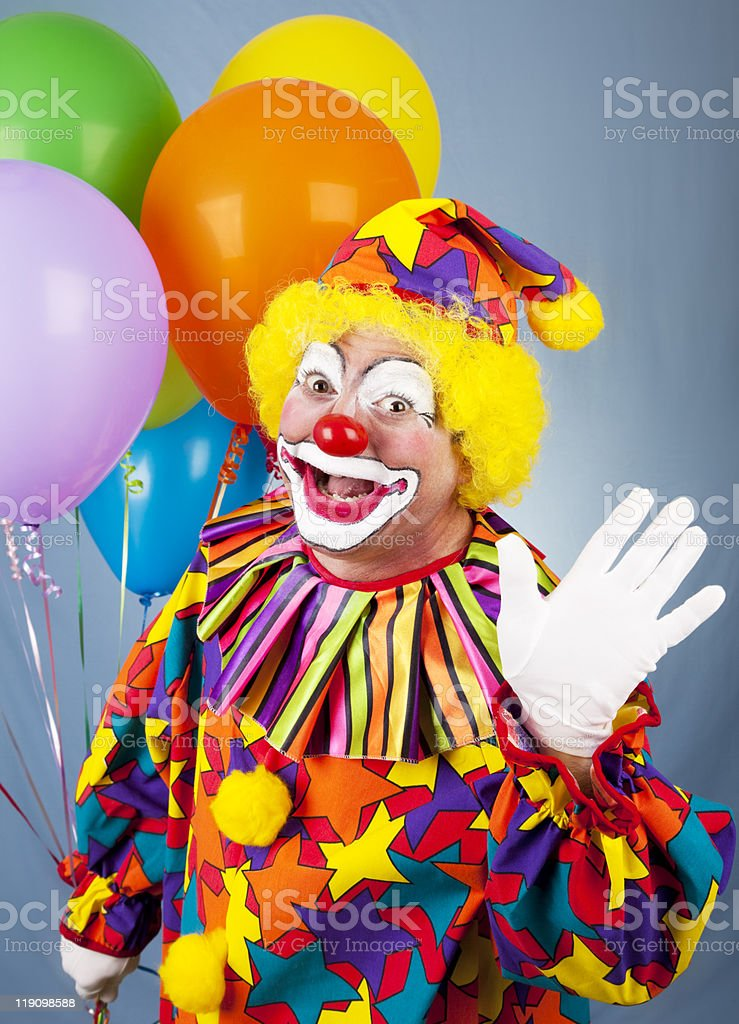 Circus Clown Waves Hello stock photo