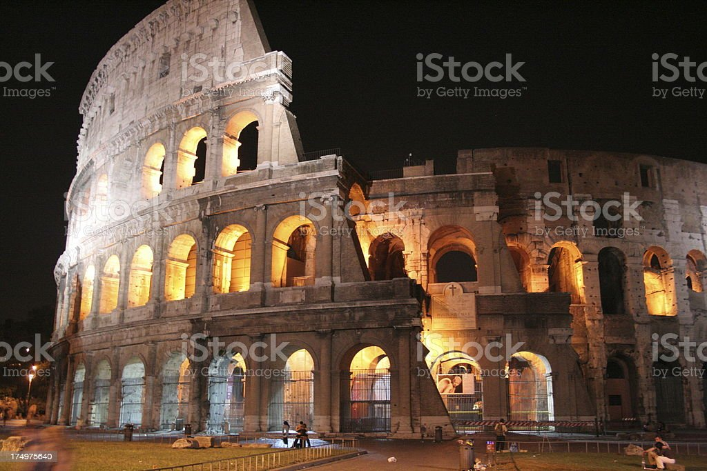 Circus Colosseum by night stock photo