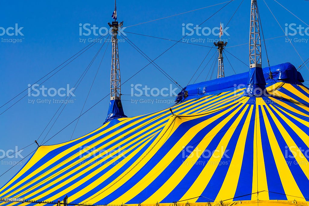 Circus cone tent in colors stock photo