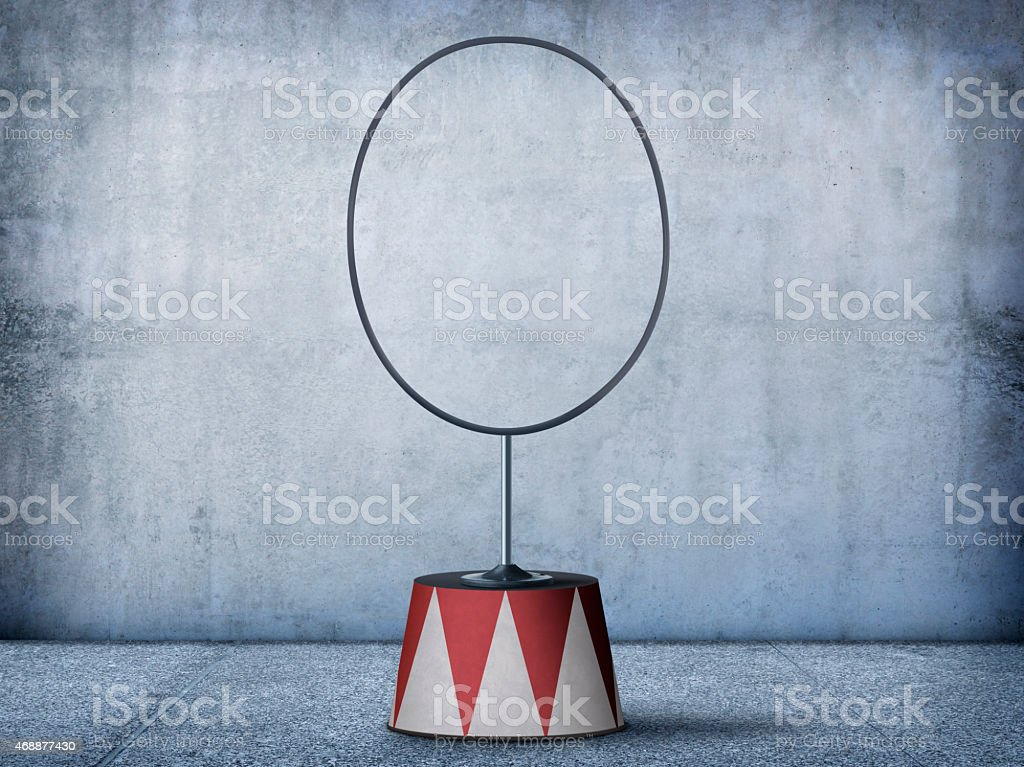 Circus hoop on circus pedeatal stock photo