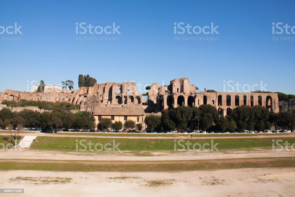 Circus Maximus and Palatine Hill in Rome stock photo
