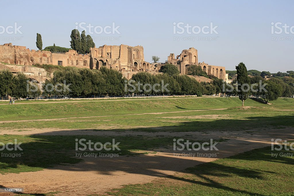 Circus maximus and The Palatine Hill in Rome, Italy stock photo