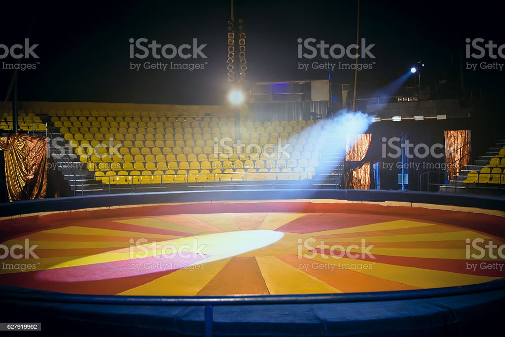 Circus ring and chairs for people stock photo